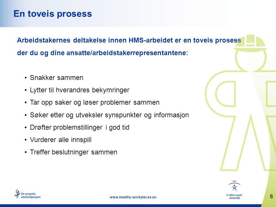 6 www.healthy-workplaces.eu En toveis prosess Arbeidstakernes deltakelse innen HMS-arbeidet er en toveis prosess der du og dine ansatte/arbeidstakerre