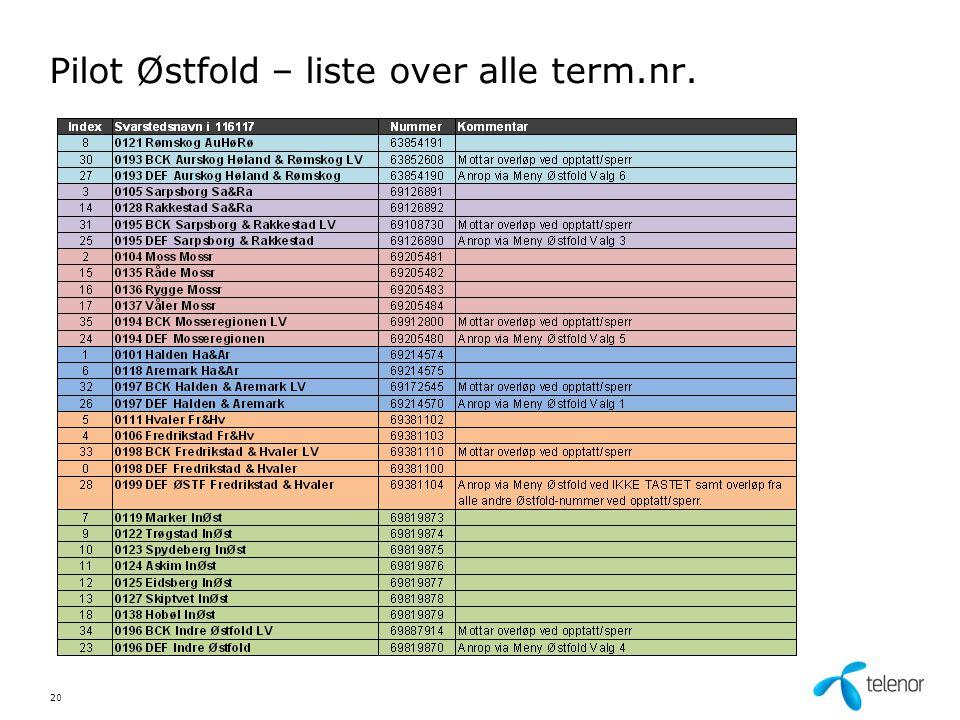 Pilot Østfold – liste over alle term.nr. 20