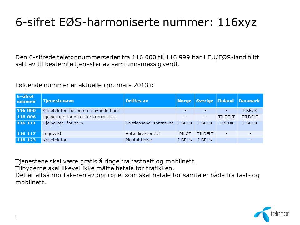 6-sifret EØS-harmoniserte nummer: 116xyz Den 6-sifrede telefonnummerserien fra 116 000 til 116 999 har i EU/EØS-land blitt satt av til bestemte tjenester av samfunnsmessig verdi.