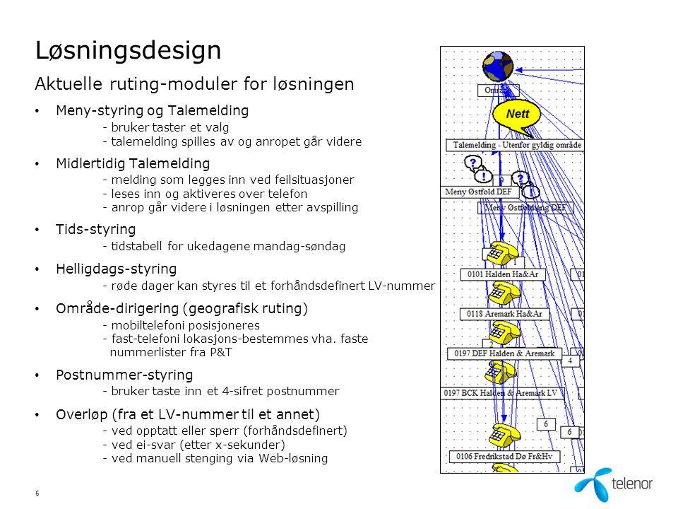Løsningsdesign Områdedirigering / geografisk ruting – Fasttelefoni og IPT • Fast- og IPT-anrop styres vha.