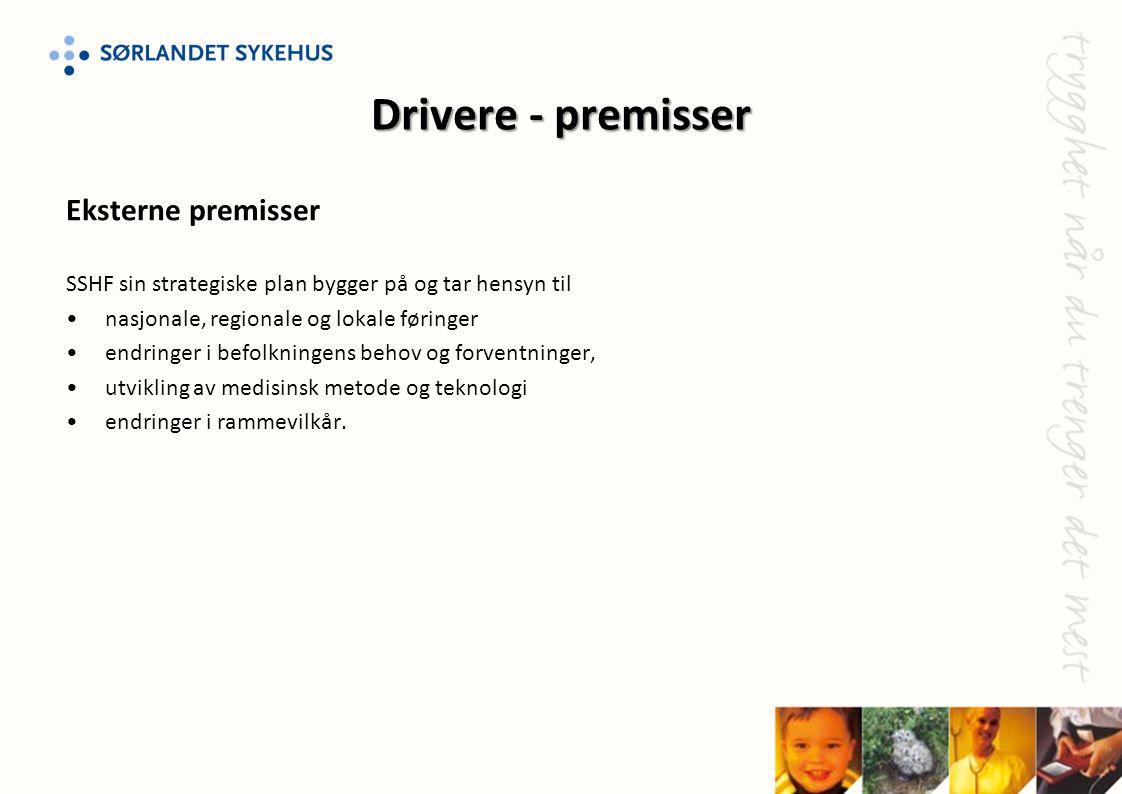 Drivere - premisser Eksterne premisser SSHF sin strategiske plan bygger på og tar hensyn til •nasjonale, regionale og lokale føringer •endringer i bef