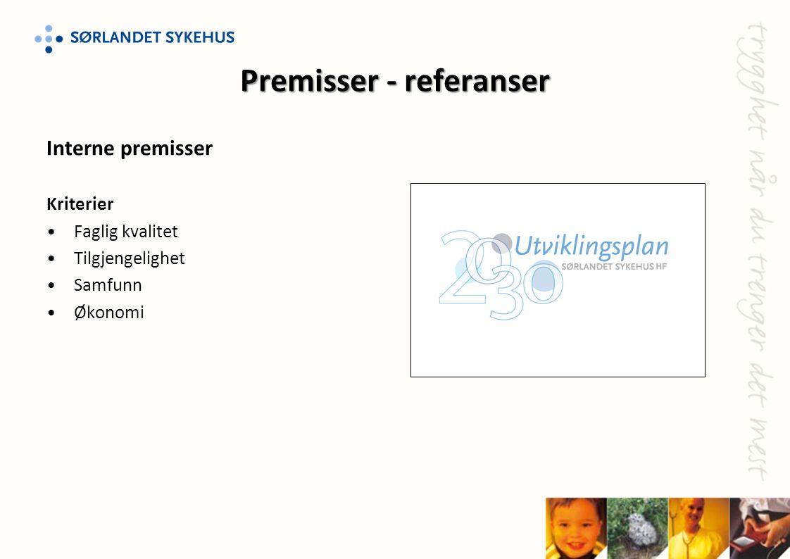 Premisser - referanser Interne premisser Kriterier •Faglig kvalitet •Tilgjengelighet •Samfunn •Økonomi