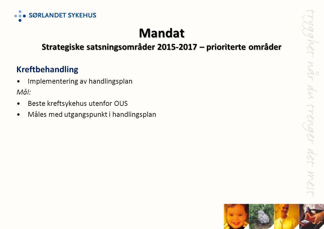 Kreftbehandling •Implementering av handlingsplan Mål: •Beste kreftsykehus utenfor OUS •Måles med utgangspunkt i handlingsplan Mandat Strategiske satsn