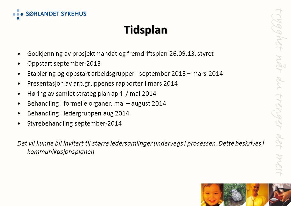 Tidsplan •Godkjenning av prosjektmandat og fremdriftsplan 26.09.13, styret •Oppstart september-2013 •Etablering og oppstart arbeidsgrupper i september