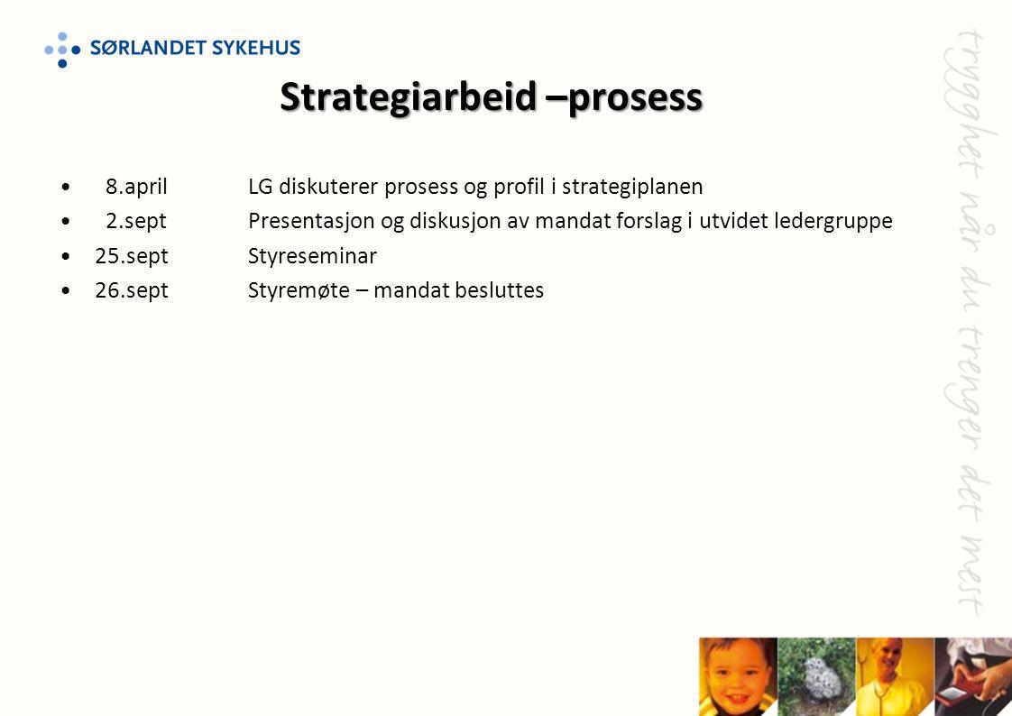 • 8.aprilLG diskuterer prosess og profil i strategiplanen • 2.sept Presentasjon og diskusjon av mandat forslag i utvidet ledergruppe •25.sept Styresem