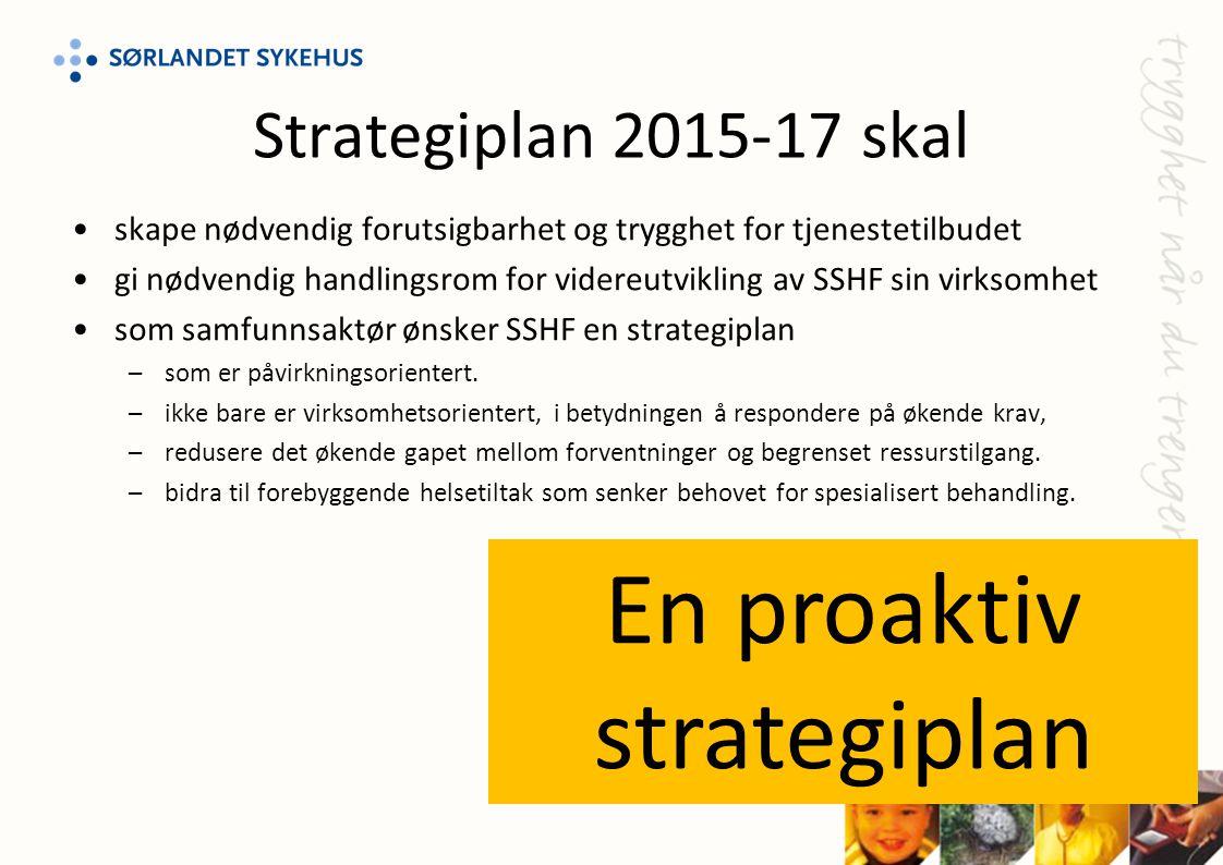 Strategiplan 2015-17 skal •skape nødvendig forutsigbarhet og trygghet for tjenestetilbudet •gi nødvendig handlingsrom for videreutvikling av SSHF sin