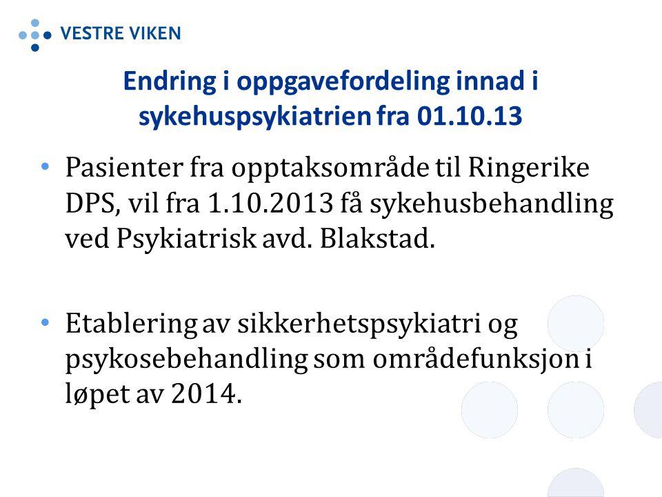 Endring i oppgavefordeling innad i sykehuspsykiatrien fra 01.10.13 • Pasienter fra opptaksområde til Ringerike DPS, vil fra 1.10.2013 få sykehusbehand