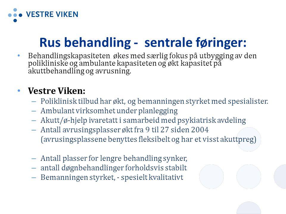 Rus behandling - sentrale føringer: • Behandlingskapasiteten økes med særlig fokus på utbygging av den polikliniske og ambulante kapasiteten og økt ka