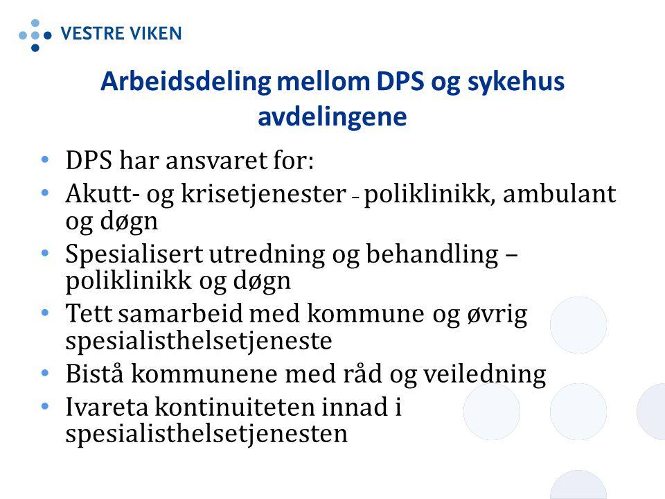 Arbeidsdeling mellom DPS og sykehus avdelingene • DPS har ansvaret for: • Akutt- og krisetjenester – poliklinikk, ambulant og døgn • Spesialisert utre