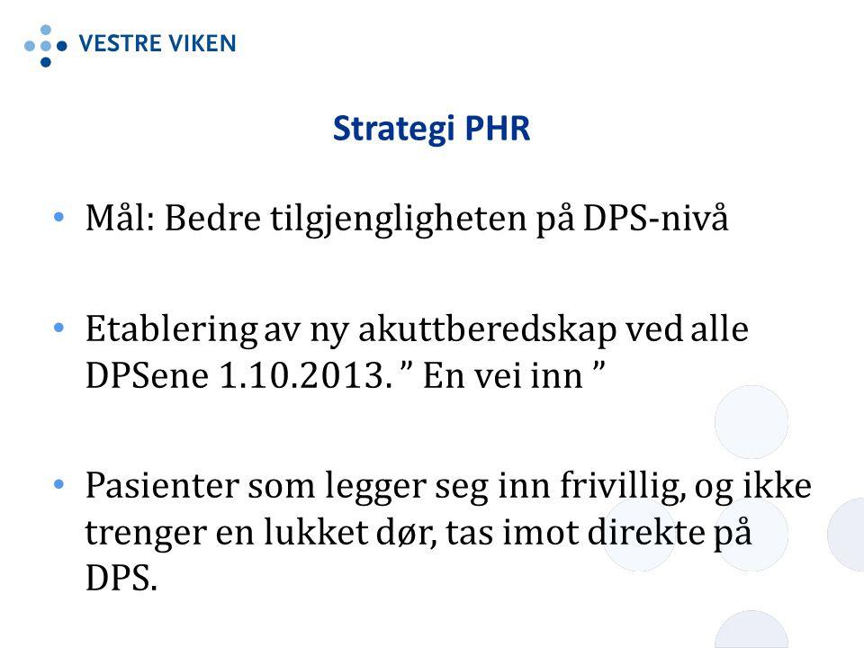 """Strategi PHR • Mål: Bedre tilgjengligheten på DPS-nivå • Etablering av ny akuttberedskap ved alle DPSene 1.10.2013. """" En vei inn """" • Pasienter som leg"""