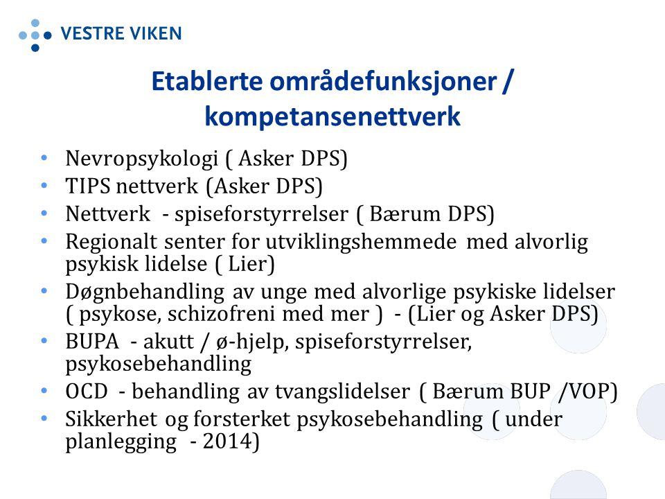 Etablerte områdefunksjoner / kompetansenettverk • Nevropsykologi ( Asker DPS) • TIPS nettverk (Asker DPS) • Nettverk - spiseforstyrrelser ( Bærum DPS)