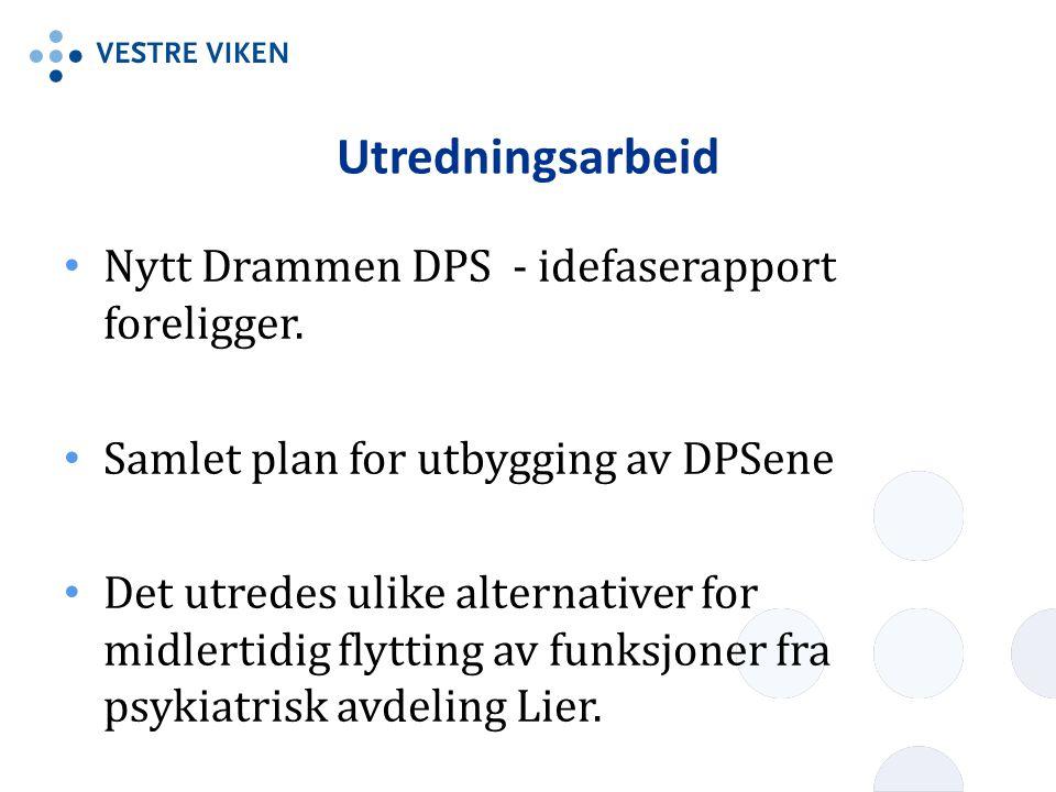 Utredningsarbeid • Nytt Drammen DPS - idefaserapport foreligger. • Samlet plan for utbygging av DPSene • Det utredes ulike alternativer for midlertidi