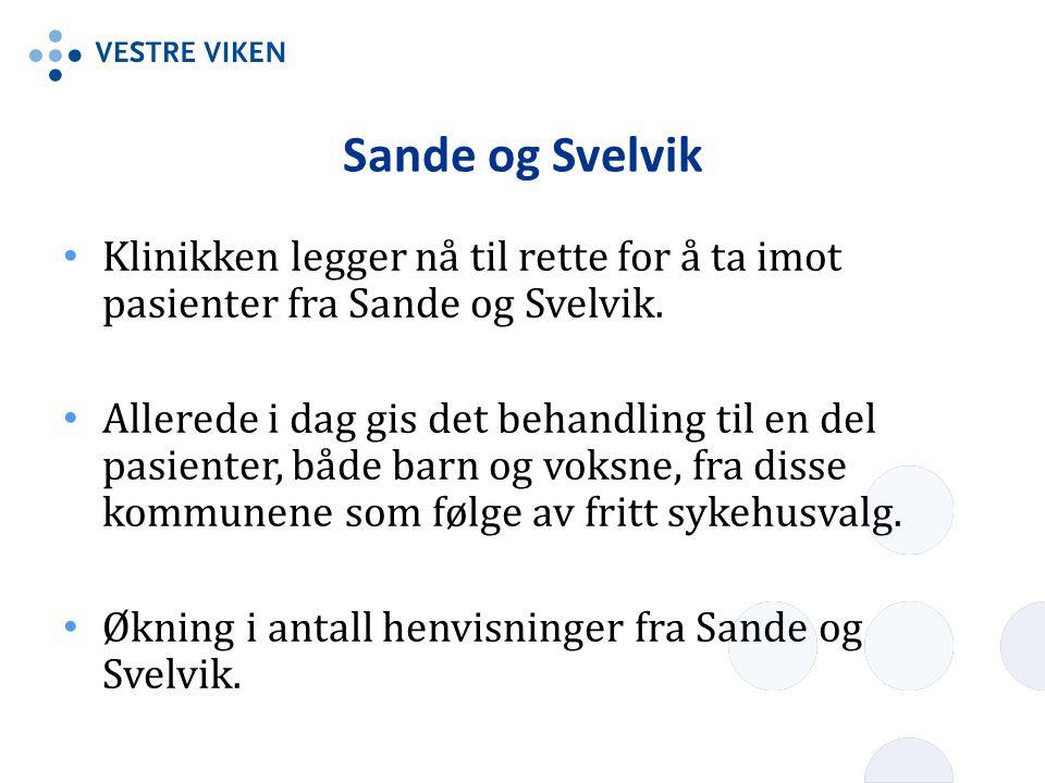 Sande og Svelvik • Klinikken legger nå til rette for å ta imot pasienter fra Sande og Svelvik. • Allerede i dag gis det behandling til en del pasiente