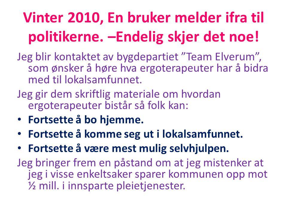"""Vinter 2010, En bruker melder ifra til politikerne. –Endelig skjer det noe! Jeg blir kontaktet av bygdepartiet """"Team Elverum"""", som ønsker å høre hva e"""