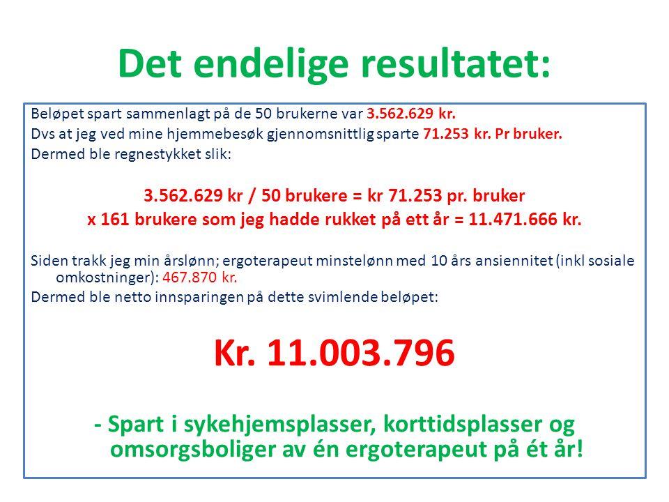 Det endelige resultatet: Beløpet spart sammenlagt på de 50 brukerne var 3.562.629 kr. Dvs at jeg ved mine hjemmebesøk gjennomsnittlig sparte 71.253 kr