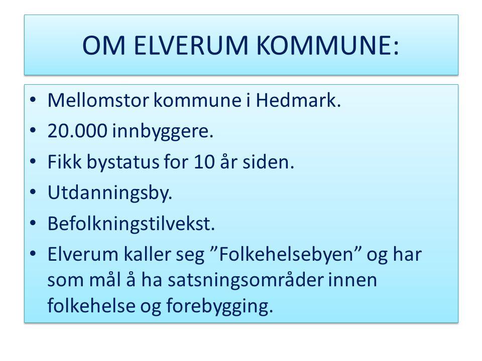 OM ELVERUM KOMMUNE: • Mellomstor kommune i Hedmark. • 20.000 innbyggere. • Fikk bystatus for 10 år siden. • Utdanningsby. • Befolkningstilvekst. • Elv