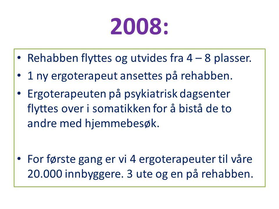 2008: • Rehabben flyttes og utvides fra 4 – 8 plasser. • 1 ny ergoterapeut ansettes på rehabben. • Ergoterapeuten på psykiatrisk dagsenter flyttes ove