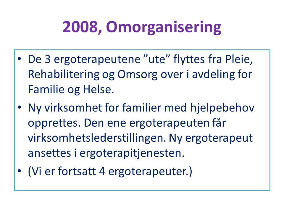 """2008, Omorganisering • De 3 ergoterapeutene """"ute"""" flyttes fra Pleie, Rehabilitering og Omsorg over i avdeling for Familie og Helse. • Ny virksomhet fo"""