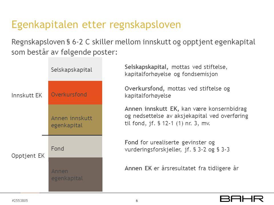 #2553805 Innskutt EK 6 Egenkapitalen etter regnskapsloven Regnskapsloven § 6-2 C skiller mellom innskutt og opptjent egenkapital som består av følgend