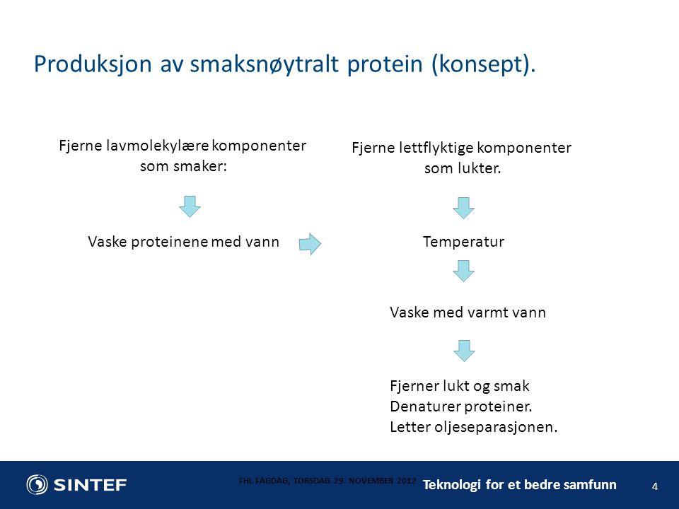 Teknologi for et bedre samfunn Produksjon av smaksnøytralt protein (konsept). FHL FAGDAG, TORSDAG 29. NOVEMBER 2012 4 Fjerne lavmolekylære komponenter