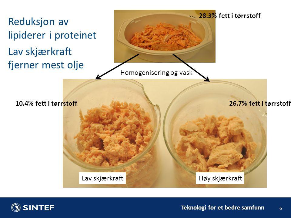 Teknologi for et bedre samfunn Reduksjon av lipiderer i proteinet Lav skjærkraft fjerner mest olje 6 28.3% fett i tørrstoff 26.7% fett i tørrstoff10.4