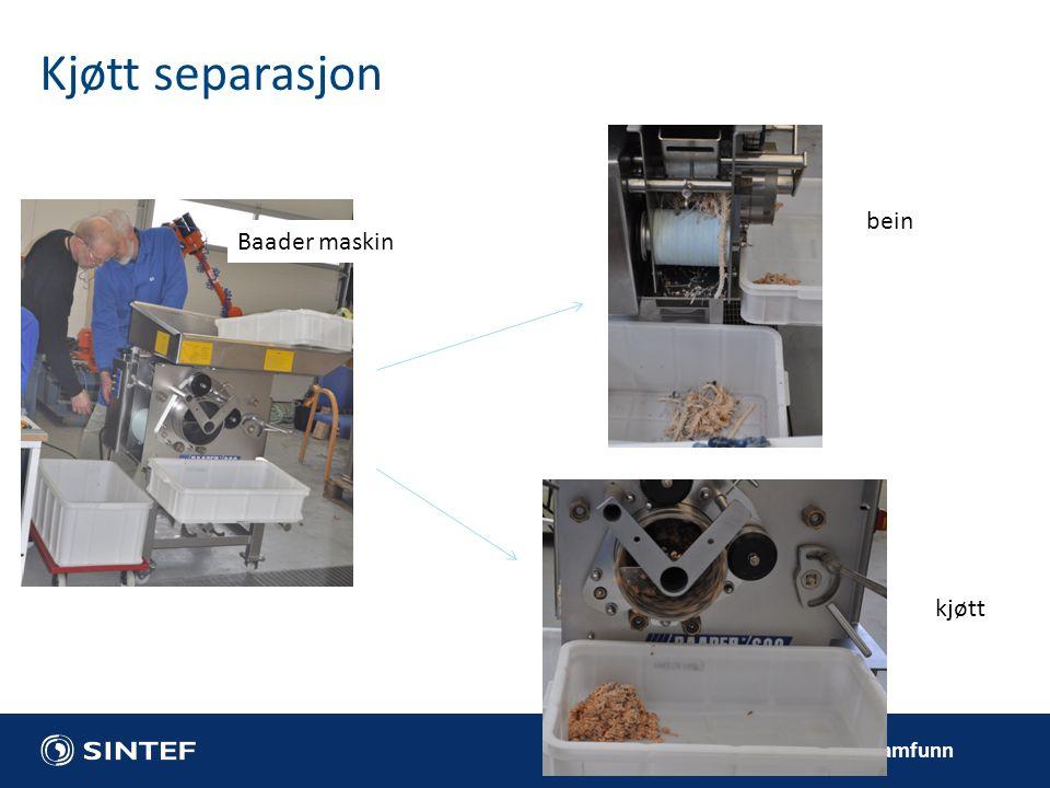 Teknologi for et bedre samfunn Kjøtt separasjon Baader maskin bein kjøtt