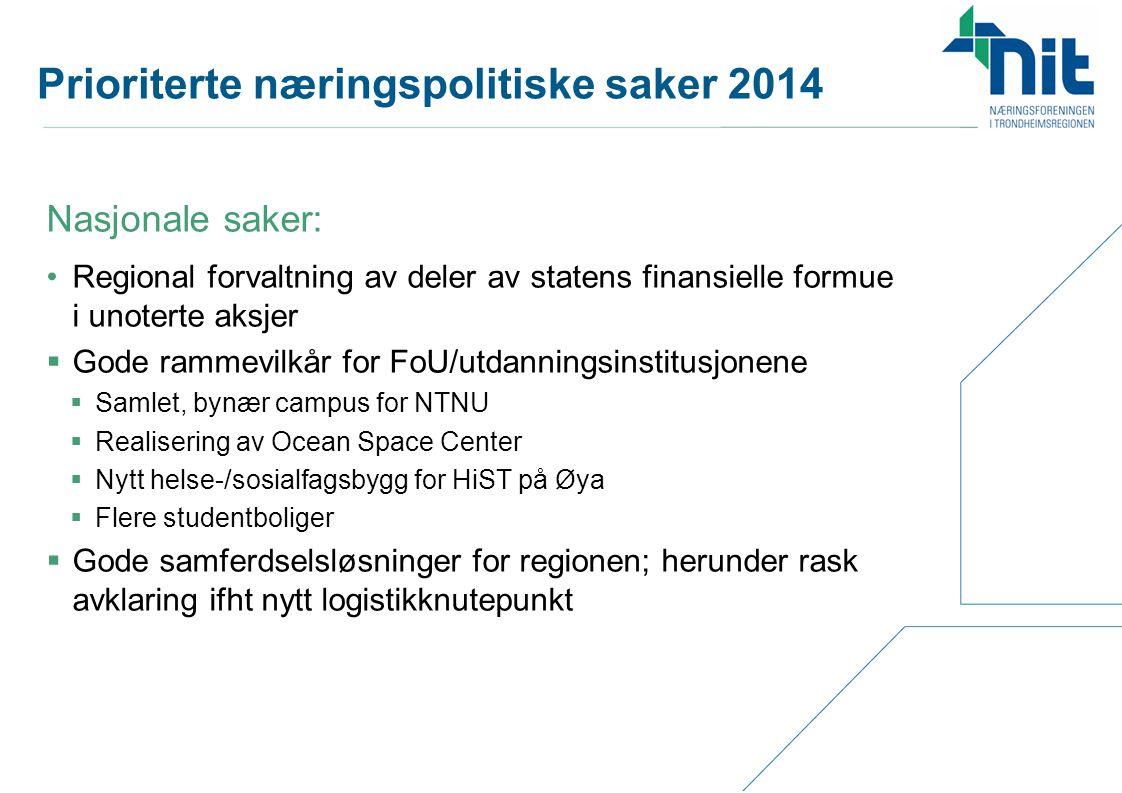 Prioriterte næringspolitiske saker 2014 •Regional forvaltning av deler av statens finansielle formue i unoterte aksjer  Gode rammevilkår for FoU/utda