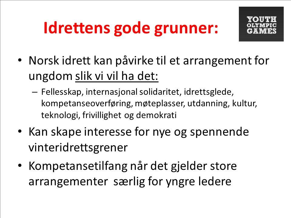 Idrettens gode grunner: • Norsk idrett kan påvirke til et arrangement for ungdom slik vi vil ha det: – Fellesskap, internasjonal solidaritet, idrettsg