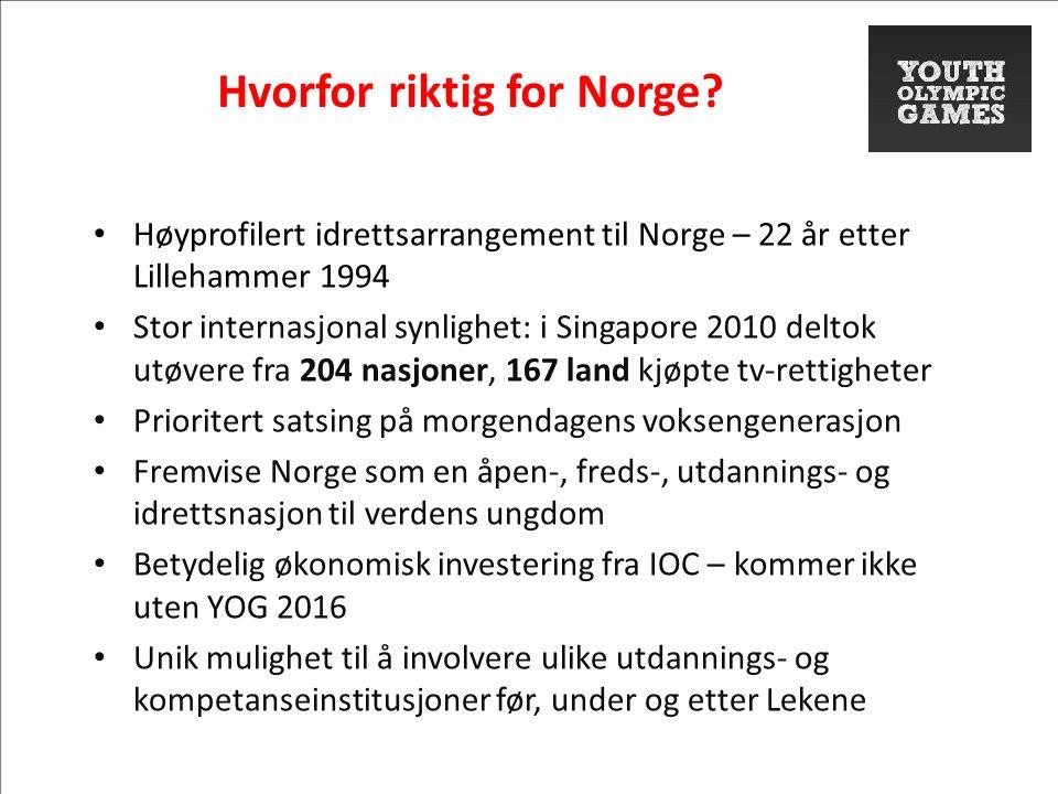 Hvorfor riktig for Norge? • Høyprofilert idrettsarrangement til Norge – 22 år etter Lillehammer 1994 • Stor internasjonal synlighet: i Singapore 2010