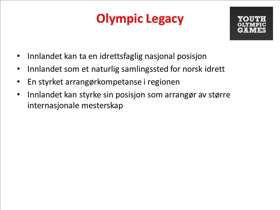Olympic Legacy • Innlandet kan ta en idrettsfaglig nasjonal posisjon • Innlandet som et naturlig samlingssted for norsk idrett • En styrket arrangørkompetanse i regionen • Innlandet kan styrke sin posisjon som arrangør av større internasjonale mesterskap