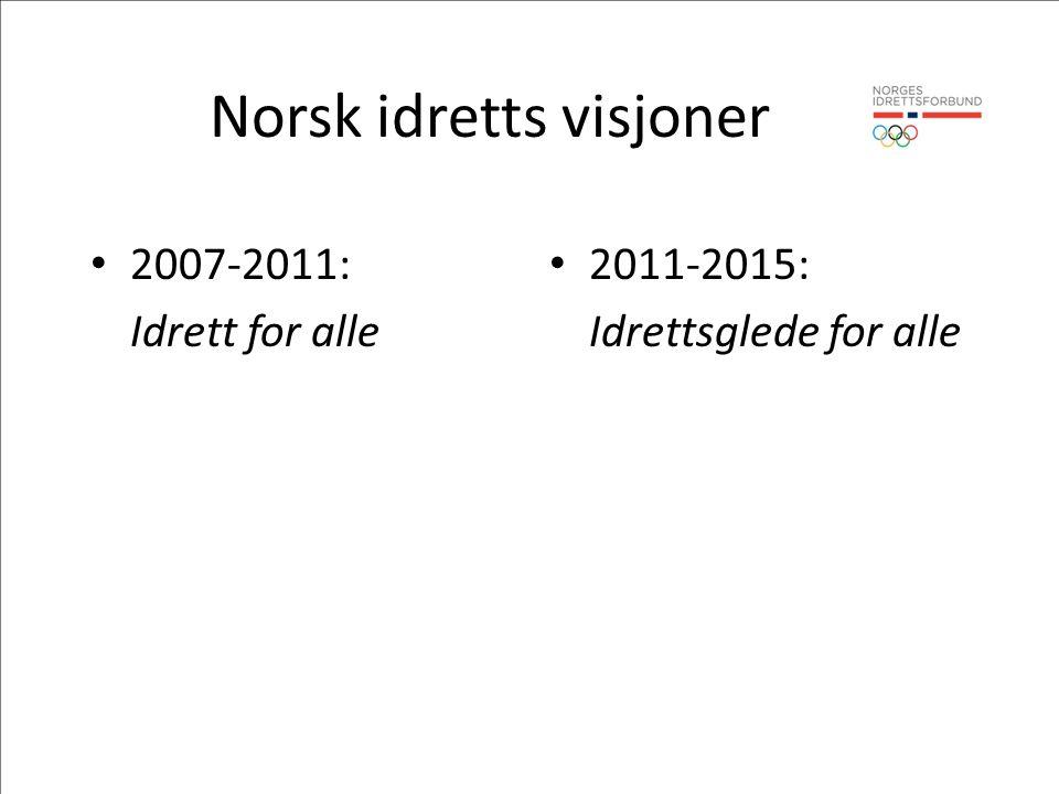 Norsk idretts visjoner • 2007-2011: Idrett for alle • 2011-2015: Idrettsglede for alle