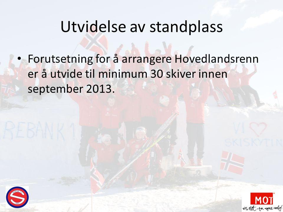 Utvidelse av standplass • Forutsetning for å arrangere Hovedlandsrenn er å utvide til minimum 30 skiver innen september 2013.