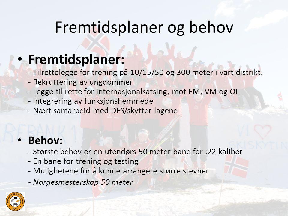 Fremtidsplaner og behov • Fremtidsplaner: - Tilrettelegge for trening på 10/15/50 og 300 meter i vårt distrikt. - Rekruttering av ungdommer - Legge ti