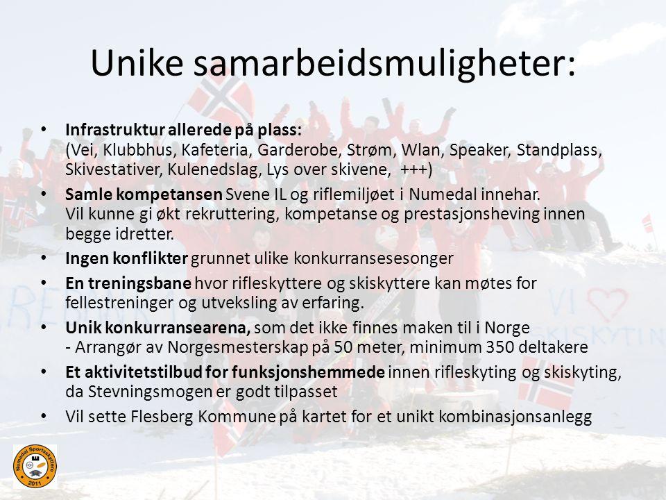 Unike samarbeidsmuligheter: • Infrastruktur allerede på plass: (Vei, Klubbhus, Kafeteria, Garderobe, Strøm, Wlan, Speaker, Standplass, Skivestativer,