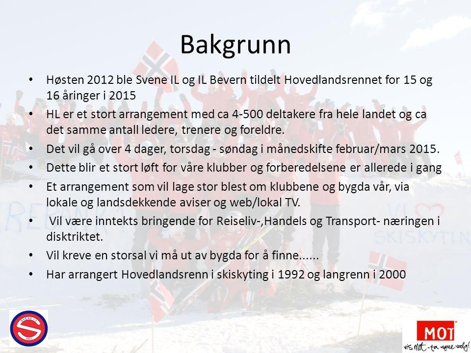 Bakgrunn • Høsten 2012 ble Svene IL og IL Bevern tildelt Hovedlandsrennet for 15 og 16 åringer i 2015 • HL er et stort arrangement med ca 4-500 deltak