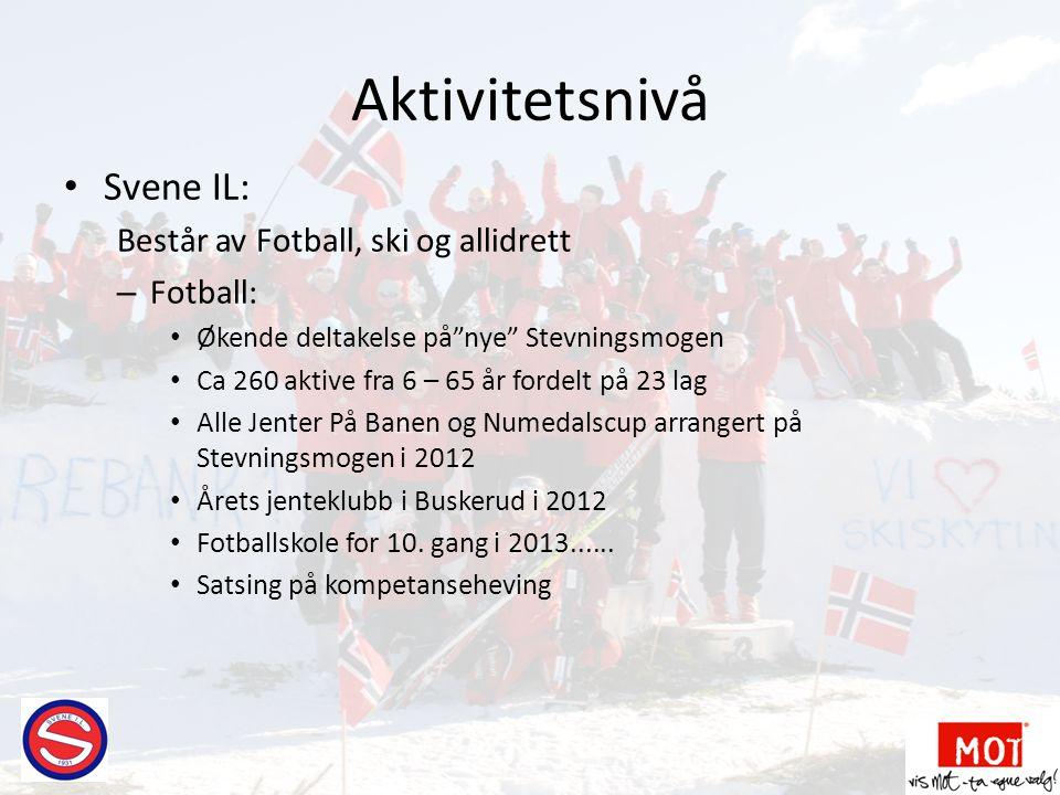 """Aktivitetsnivå • Svene IL: Består av Fotball, ski og allidrett – Fotball: • Økende deltakelse på""""nye"""" Stevningsmogen • Ca 260 aktive fra 6 – 65 år for"""