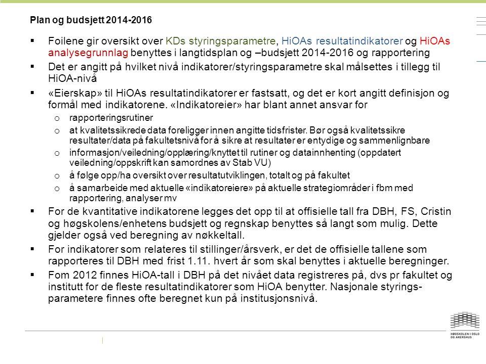 Plan og budsjett 2014-2016  Foilene gir oversikt over KDs styringsparametre, HiOAs resultatindikatorer og HiOAs analysegrunnlag benyttes i langtidspl