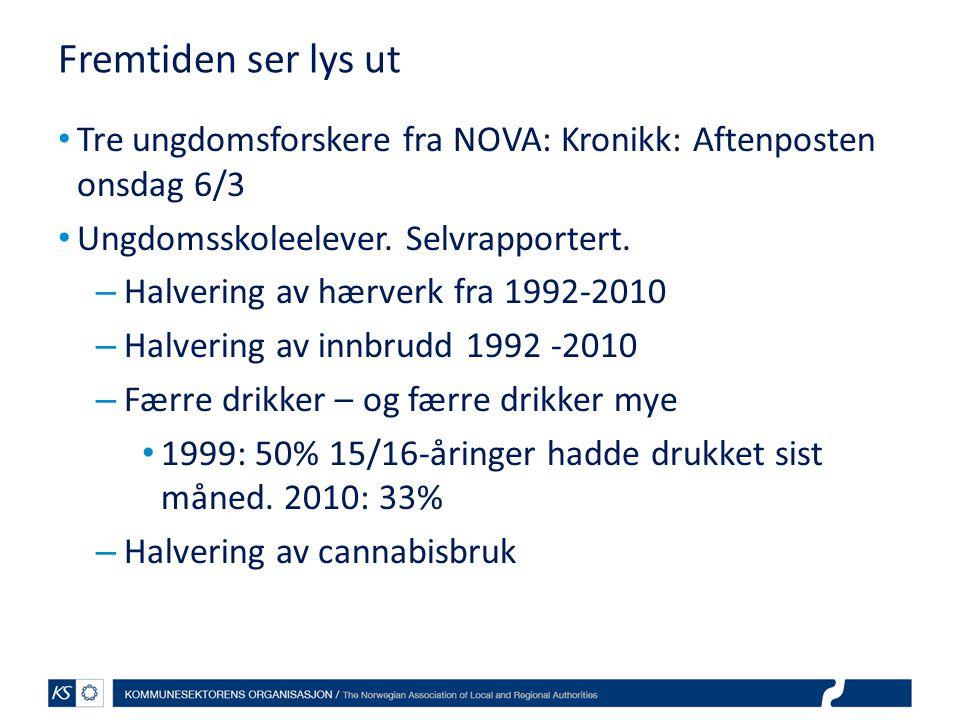 Fremtiden ser lys ut • Tre ungdomsforskere fra NOVA: Kronikk: Aftenposten onsdag 6/3 • Ungdomsskoleelever. Selvrapportert. – Halvering av hærverk fra