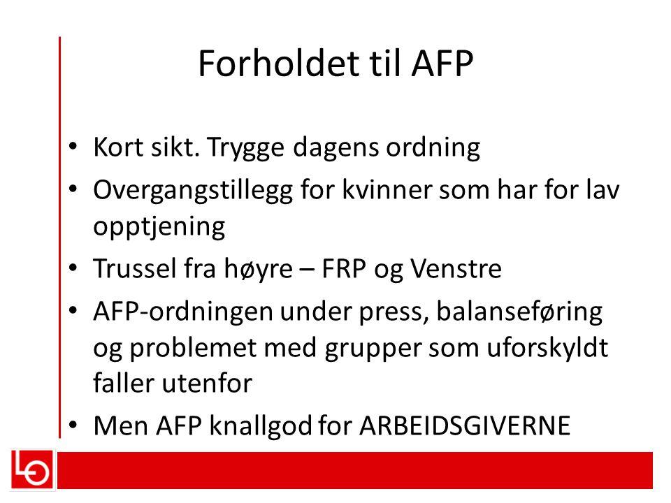 Forholdet til AFP • Kort sikt.