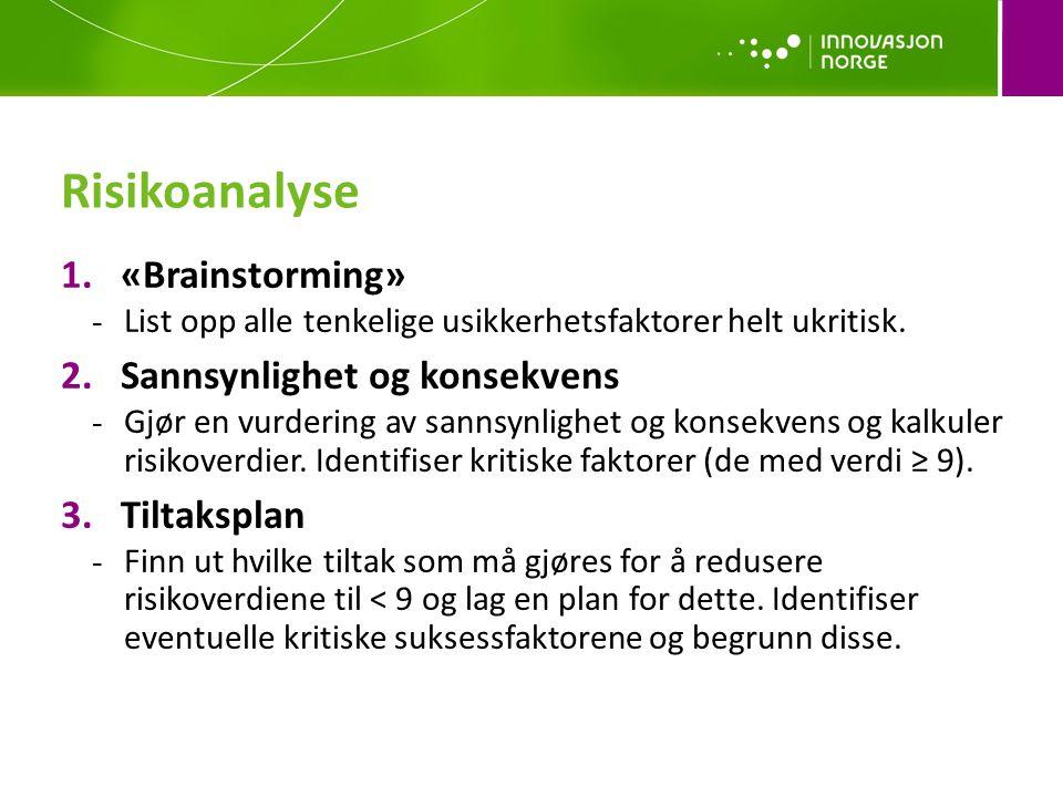 Risikoanalyse 1.«Brainstorming» - List opp alle tenkelige usikkerhetsfaktorer helt ukritisk.