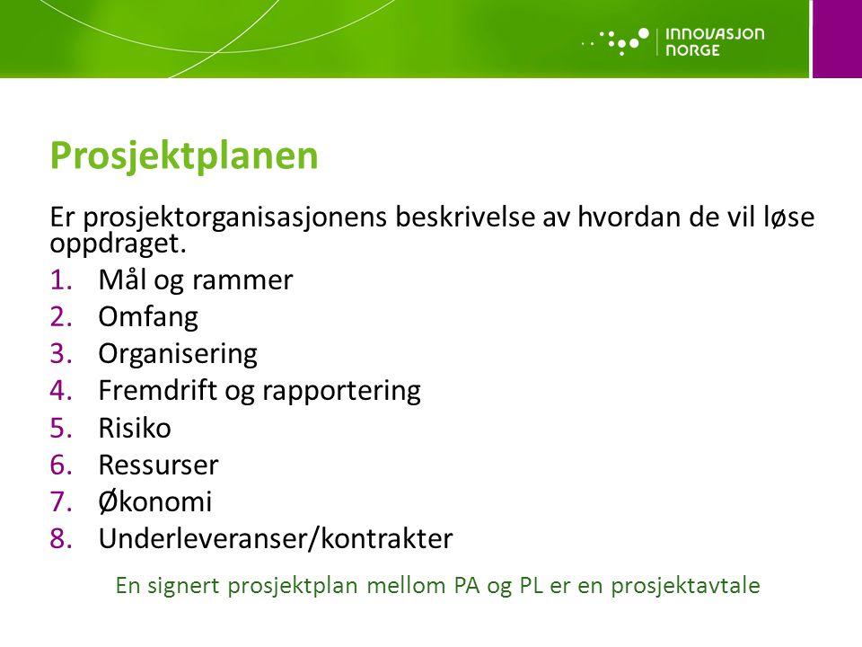 Prosjektplanen Er prosjektorganisasjonens beskrivelse av hvordan de vil løse oppdraget.
