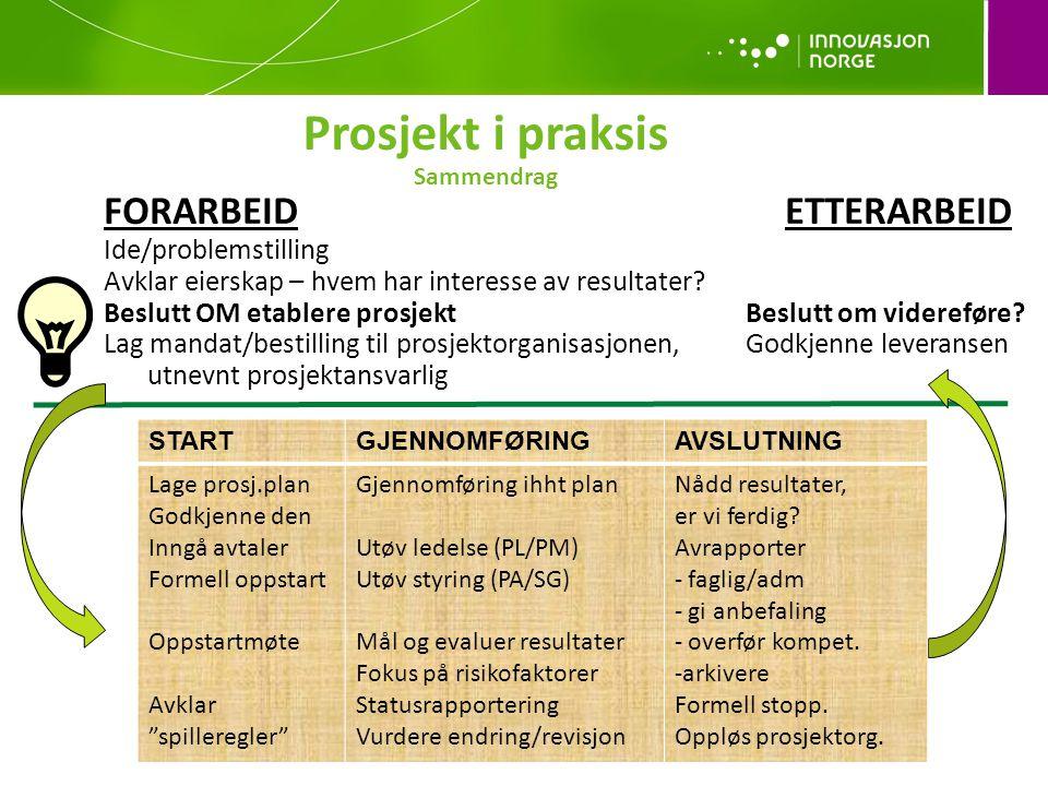 Prosjekt i praksis Sammendrag FORARBEIDETTERARBEID Ide/problemstilling Avklar eierskap – hvem har interesse av resultater.