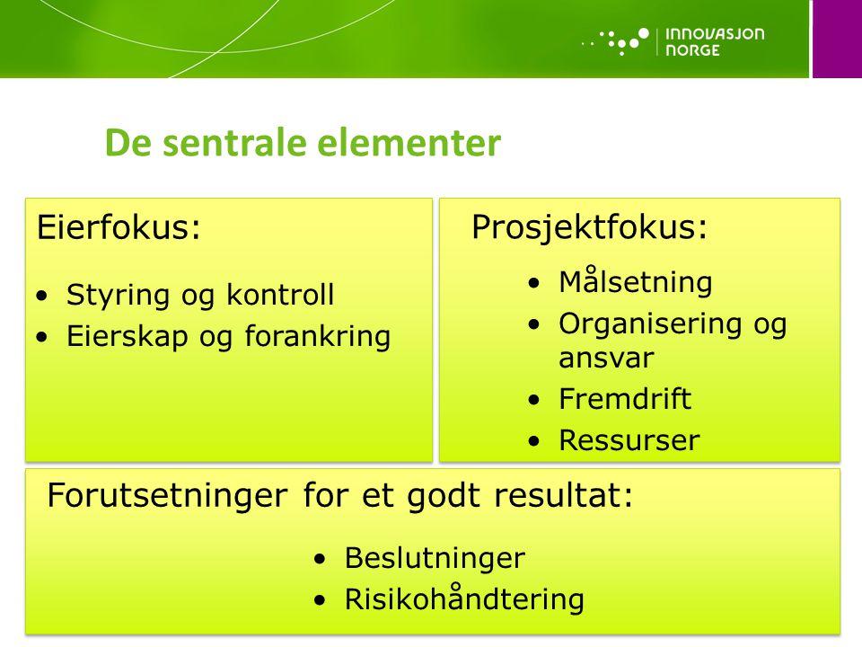 De sentrale elementer •Styring og kontroll •Eierskap og forankring Eierfokus: •Målsetning •Organisering og ansvar •Fremdrift •Ressurser Prosjektfokus: •Beslutninger •Risikohåndtering Forutsetninger for et godt resultat: