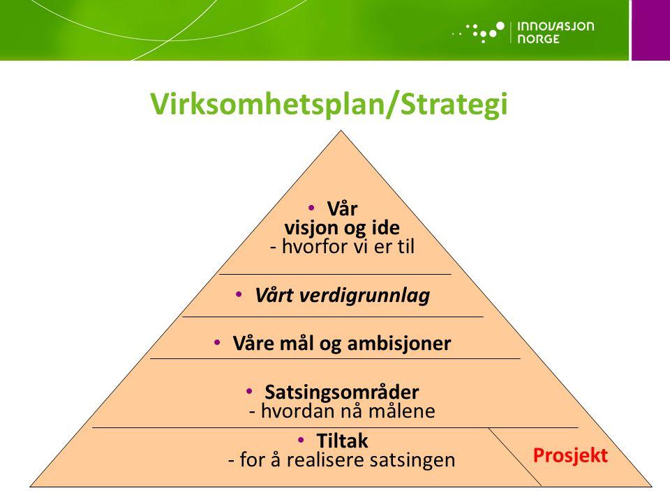 • Vår visjon og ide - hvorfor vi er til • Vårt verdigrunnlag • Våre mål og ambisjoner • Satsingsområder - hvordan nå målene • Tiltak - for å realisere satsingen Prosjekt Virksomhetsplan/Strategi