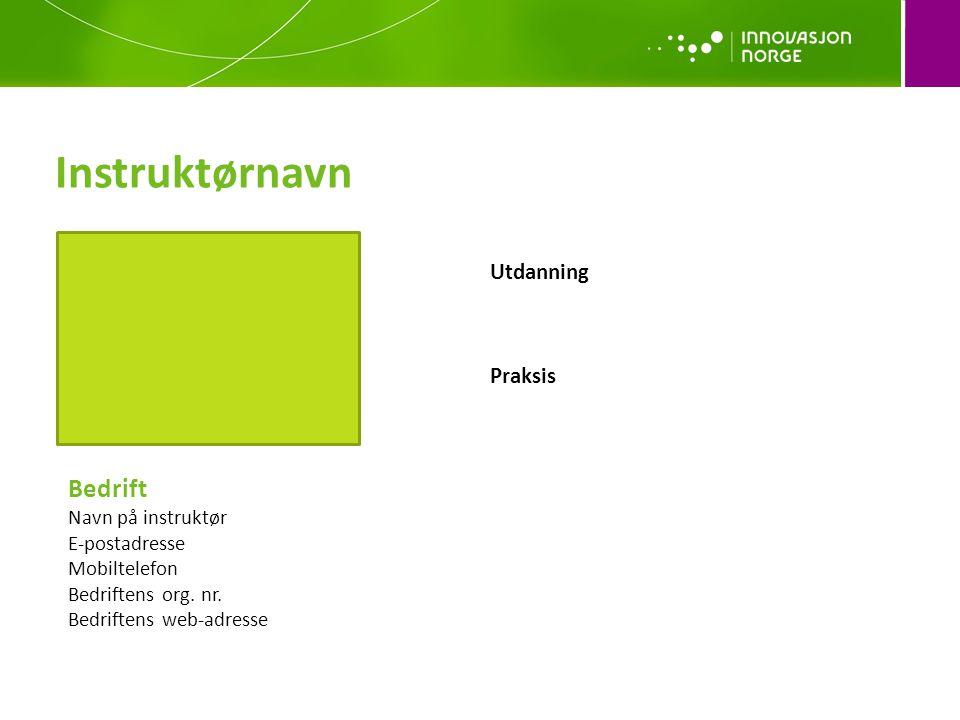 Utdanning Praksis Bedrift Navn på instruktør E-postadresse Mobiltelefon Bedriftens org.