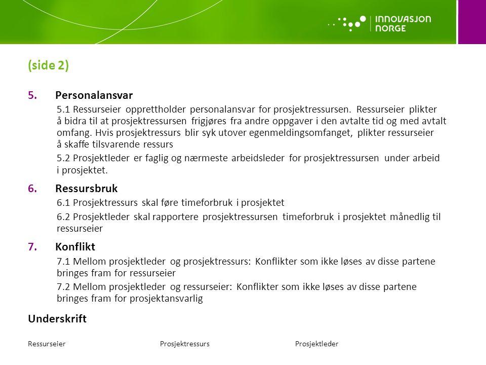 (side 2) 5.Personalansvar 5.1 Ressurseier opprettholder personalansvar for prosjektressursen.