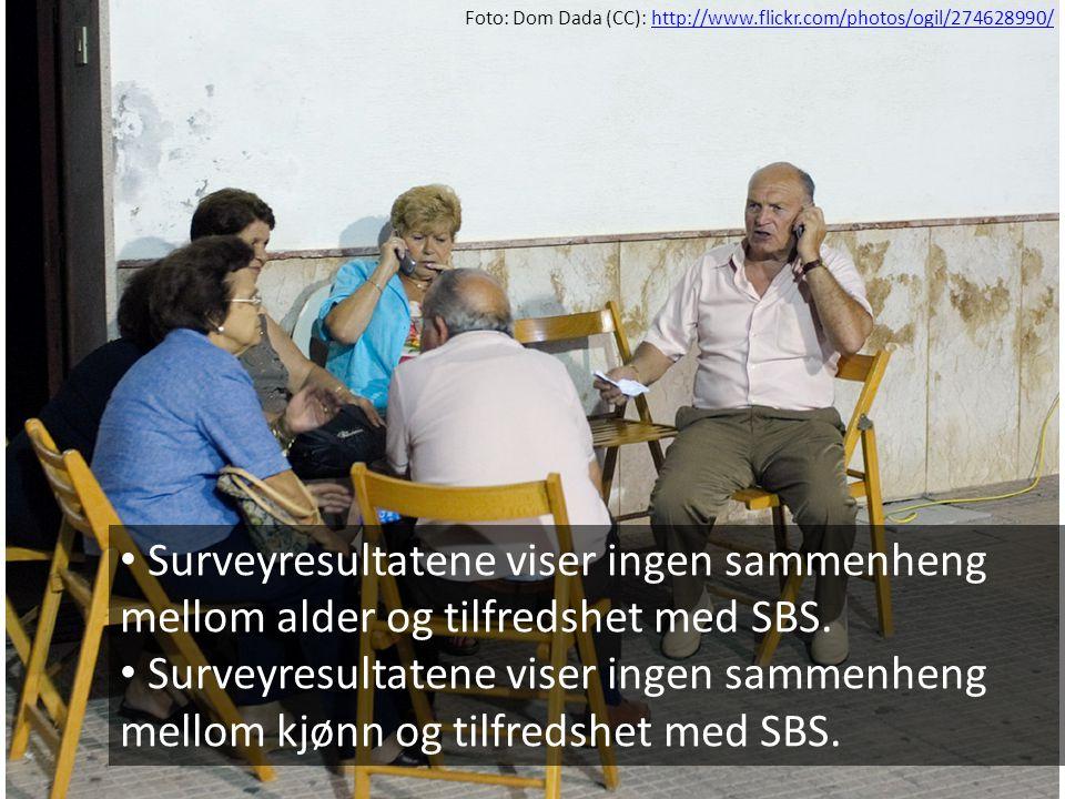 • Surveyresultatene viser ingen sammenheng mellom alder og tilfredshet med SBS. • Surveyresultatene viser ingen sammenheng mellom kjønn og tilfredshet