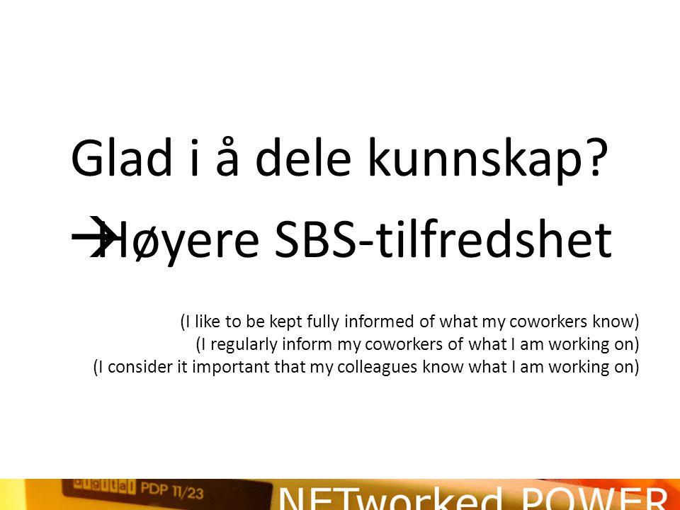 Glad i å dele kunnskap?  Høyere SBS-tilfredshet (I like to be kept fully informed of what my coworkers know) (I regularly inform my coworkers of what