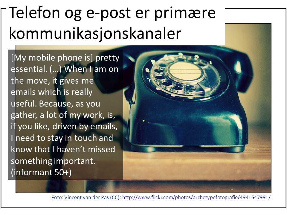 Telefon og e-post er primære kommunikasjonskanaler Foto: Vincent van der Pas (CC): http://www.flickr.com/photos/archetypefotografie/4941547991/http://