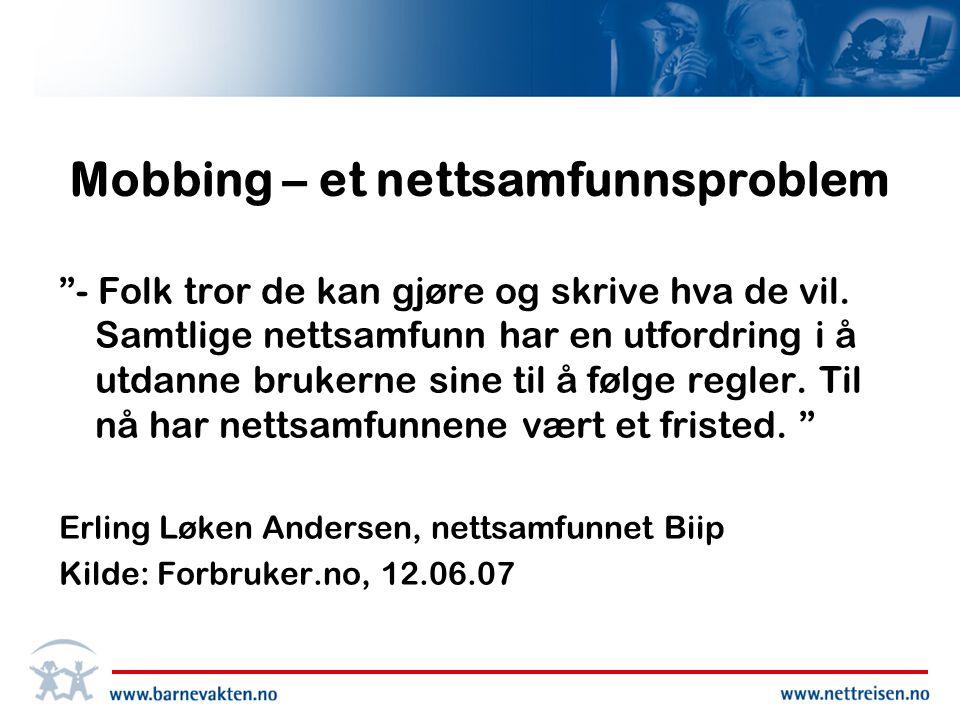 Mobbing – et nettsamfunnsproblem - Folk tror de kan gjøre og skrive hva de vil.